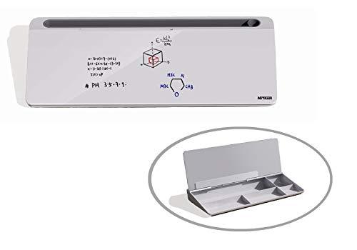 NITRAM Pizarra blanca de crital para oficina o escritorio con espacio para almacenamiento de accesorios y ranura para tablet/móvil. Dimensiones: 40,5 x 18,5 x 6 cm. Incluye borrador.