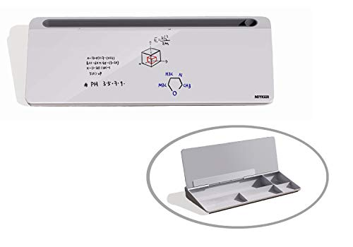 NITRAM Lavagna da scrivania o ufficio in vetro bianco con cassetto portaoggetti e scomparto per accessori Dimensioni: 40,5 x 18,5 x 6 cm con cancellino.