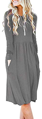 AUSELILY Women's Solid Plain Long Sleeve Pockets Empire Waist Pleated Loose Swing Casual Flare Dress Charcoal Heather (M,Gray) (Apparel)