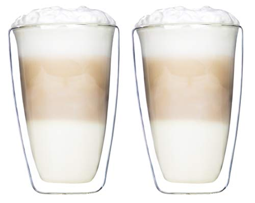 Novaliv 2X Latte Macchiato Glas I 400 ml I doppelwandig Glas I Borosilikatglas I spülmaschinen & mikrowellen geeignet I Thermoglas Kaffeeglas Kaffeebecher