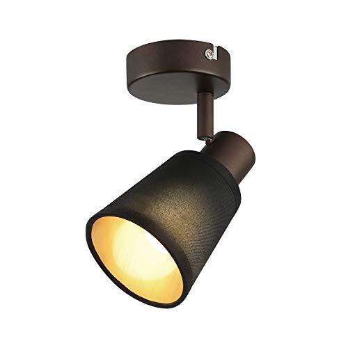 IMPTS Lámpara LED de techo de 1 foco, pantalla de tela, lámpara de techo, lámpara de pared, lámpara de comedor, vintage, negra, incluye bombilla E14 LED, 280 lm, 230 V, IP20, blanco cálido