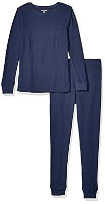 Amazon Essentials Women's Thermal Long Underwear Set, Navy, X-Large