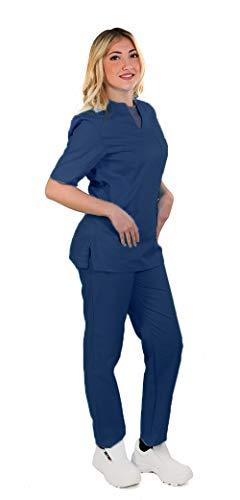 TCD possibilità di Ricamo: Completo Divisa Sanitaria ospedaliera da Donna, Scollo a V, Uniforme per Infermiere, operatore Sanitario, odontotecnico (U07 Blu Scuro Ricamo Si, M)