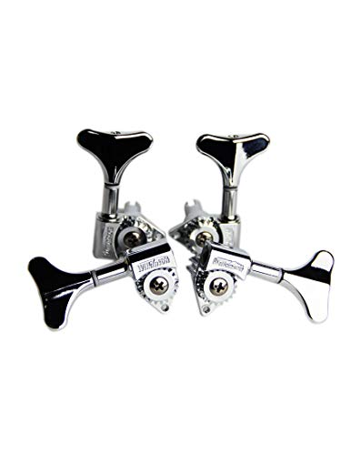 Wilkinson 4Pcs Bass Machine Heads (2L + 2R) WJB-750 Set – Diecast Treble Tuning Key Pegs Tuners Replacement for Electric Jazz Bass or Precision Instruments (Chrome)
