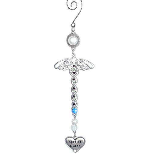 BANBERRY DESIGNS Special Nurse Ornament - Filigree and Jeweled Caduceus Hanging Ornament with Heart Charm - Nurses Day - Nursing School Graduation - Nurse Practitioner
