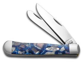 CASE XX Smooth Chipped Pink Pearl and Blue Luster Corelon Trapper Stainless Pocket Knife Knives
