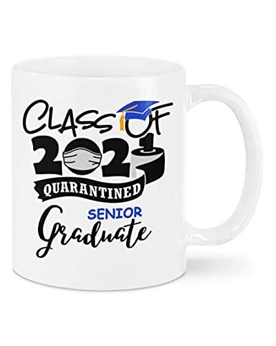 N\A Graduado Senior - Clase de 2021-Taza de graduación en cuarentena, Regalos Divertidos para Senior 2021 para Hija, Hijo, doctorado, Regalos de graduación Graduado Universitario