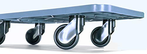 Möbeltransportroller 590x290mm grauer PP Rahmen 4x Kunststoff-Lenkrolle ø 75mm, schwarze PP Räder, Tragkraft 200Kg Design Umzugshilfe Rollbrett 590 x 290 Made in EU