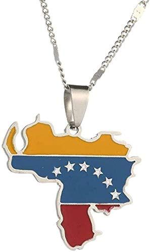 Collar de Acero Inoxidable de Moda con Colgante de Bandera de Mapa de Venezuela, Collar de joyería de Mujer Encantadora Nazur venezolano YUAHJIGE