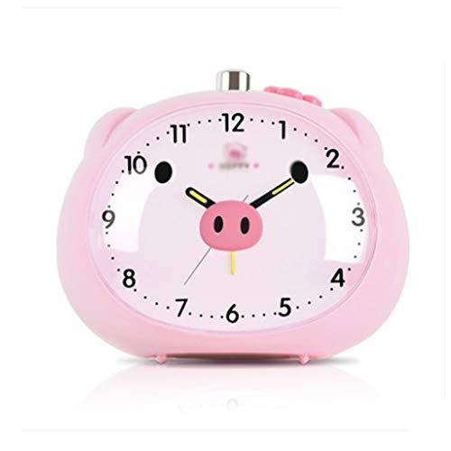 JJZST Alarm Clock - Cerdo de la Historieta Escritorio Despertadores Lindo de la Rana en Forma de Cerdo Reloj for Niños con luz de Noche (Rosa) (Color : Pink)