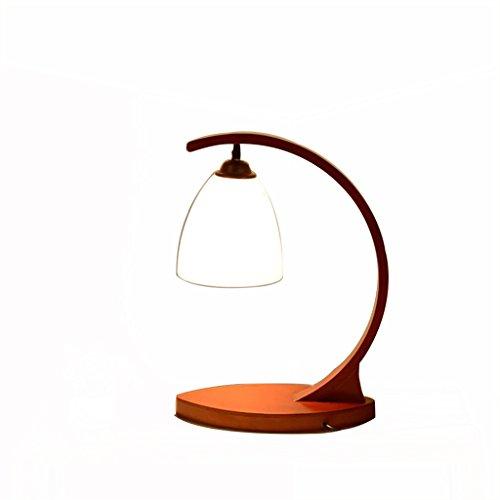 uus Lampe de table Solide Bois Verre Chambre Chevet Lampe E27 Ampoule Base 30.5 * 45cm Lumière Chaude (Économie d'énergie A +) (Couleur : Warm light30.5 * 45cm)