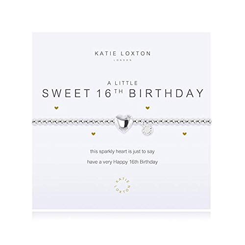 Katie Loxton A Little Sweet 16th Birthday Women's Adjustable Silver Charm Bangle Bracelet
