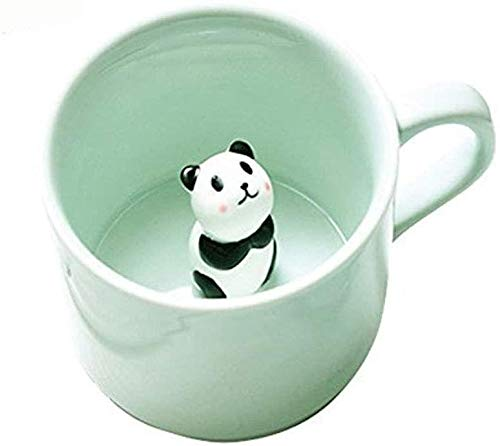 RedKids Taza de café de cerámica de 230 ml, divertida taza de té hecha a mano con oso panda en 3D, bonita taza de café de animales como regalo sorpresa de cumpleaños para amigos, familia o niños
