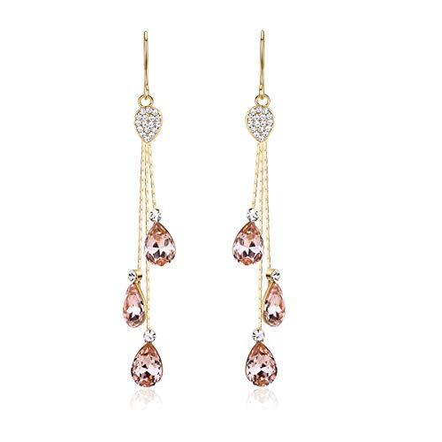 Blush Colored Earrings for Women - Dusty Rose Pink Long Dangle Crystal Drops - Luxury Earrings with Crystals - Evening Wear / Party / Date Night Showstopper Jewelry (Enticing Rose)