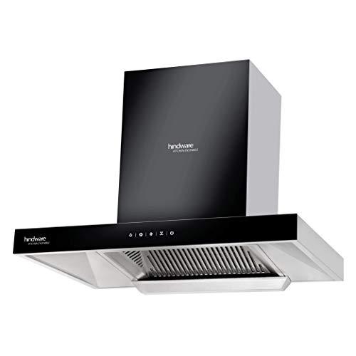 Hindware 60 cm 1200 m³/HR Auto-Clean Angular Kitchen Chimney (C100162, Filterless Technology, Touch Control, Black and Inox)