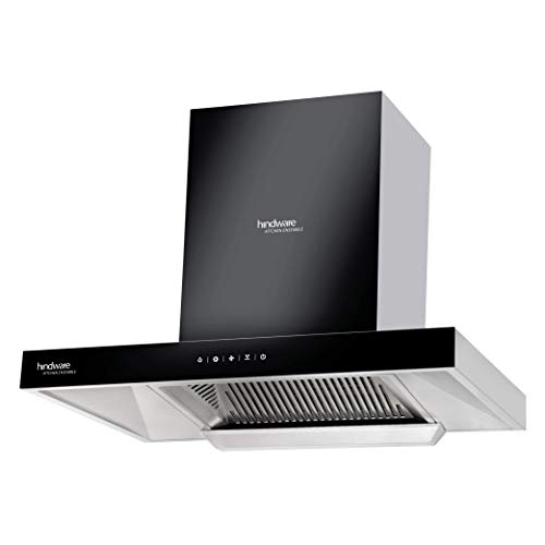 Hindware 60 cm 1200 m³/HR Auto-Clean Angular Kitchen Chimney (C100162, Filterless Technology, Touch Control, Black and Inox)