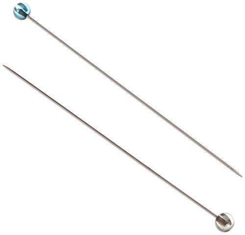 100PK OF CRYSTAL GLASS HEAD PINS, FINE SHARP-1 7/8, .5MM STEEL SHAFT