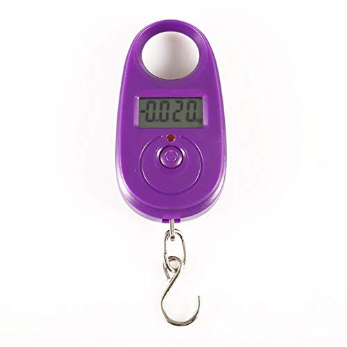 25Kg/5g Digital Scale for Fishing Luggage Travel Weighting Steelyard Hanging Electronic Hook Scale Kitchen Weight Tool,Purple