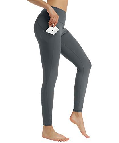 HAPYWER Damen Yoga Leggings mit Taschen Yogahose Laufhose Sport Leggings Lang Fitnesshose Sporthose Trainings Leggings- Gr. M, Silber-grau