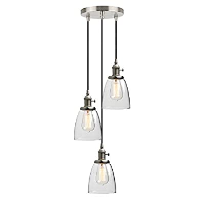 Phansthy Chandeliers Light 3 Light Ceiling Pendant Light with Oval Clear Glass Canopy