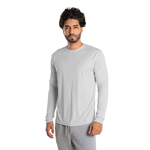 Vapor Apparel Men's UPF 50+ UV Sun Protection Long Sleeve Performance T-Shirt for Sports and Outdoor Lifestyle, Large, Pearl Grey