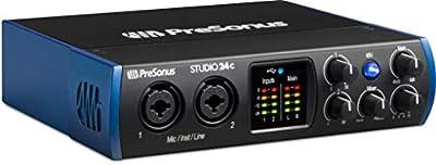 PreSonus Studio 24c 2x2, 192 kHz, USB-C Audio Interface, 2 Mic Pres-2 Line Outs/New Version from PreSonus Audio Electronics