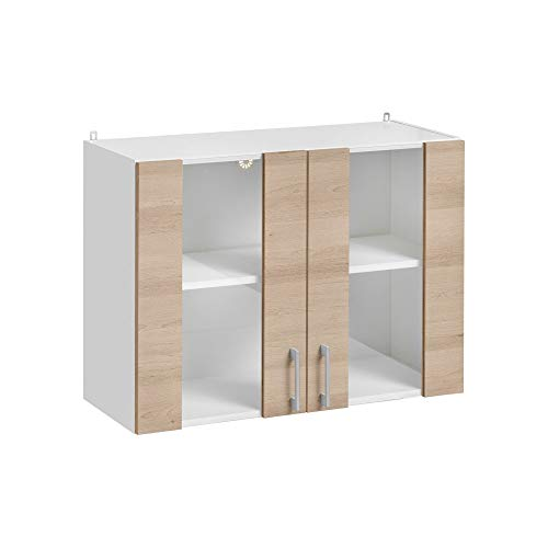 Cuisineandcie - Mueble alto de cocina con 2 puertas de cristal de 80 cm de largo, color roble natural