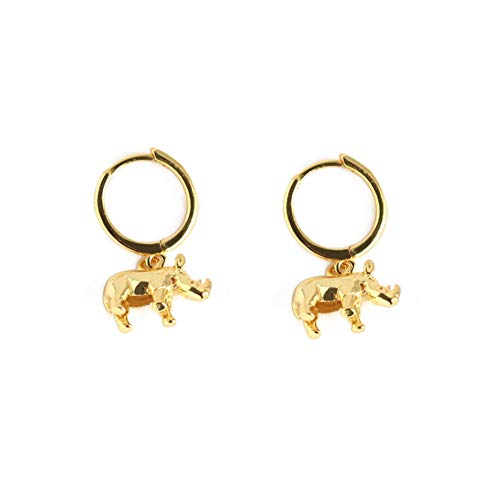 Cute Rhino Dangle Hoop Earrings for Women Girls Sterling Silver with Charms Animal Rhinoceros Drop Cartilage Cuff Stud Lovely Jewelry Fashion Dainty Birthday Christmas Gifts for Daughter (Gold)