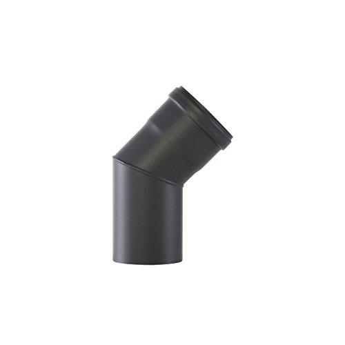 Kamino Flam Bogenknie schwarz, Winkel von 45°, Winkelrohr speziell für Pelletöfen, Abgasrohr aus Eisen mit hitzebeständiger Senotherm® Beschichtung, geprüft nach Norm EN 1856-2, Maße: Ø ca. 100 mm