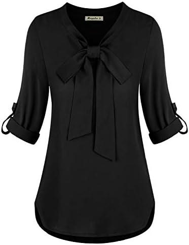 Moyabo Business Shirt Womens Casual Long Sleeve Roll up Sleeve V Neck Chiffon Blouse Black X product image