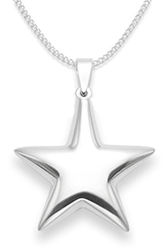 Sterling Silver Star Necklace on 18' Silver chain - SIZE: 22mm - Double sided. Gift Boxed. 8103/8500 (18')