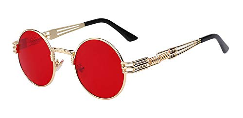 Gafas,Gafas de sol,Luxury Metal Sunglasses Men Round Sunglass Steampunk Coating Glasses Vintage Retro Lentes Oculos Of Male Sun Gold w sea red lens
