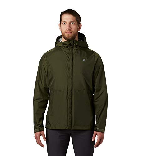 Mountain Hardwear Acadia Jacket Men's Lightweight Rain Jacket for Hiking, Camping, Climbing, and Everyday - Dark Army - Large