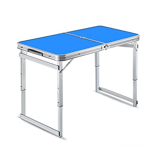 Mesa de Camping Portátil Mesa de pie Plegable Mesa de Empuje portátil Mesa y Silla Portátil al Aire Libre Configuración Rápida (Color : Azul, Size : 100x60x63cm)