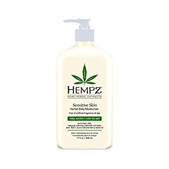 Hempz Sensitive Skin Herbal Body Moisturizer with Oatmeal Shea Butter for Women and Men Premium Soothing Body Lotion with Hemp Seed Cocoa Seed Mango Seed for Dry Skin 17 Fl Oz