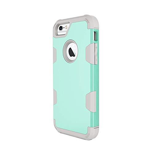 Funda iPhone 6S / 6 Plus, iPhone 6 / 6S Carcasa Cover Case 3 en 1 Hybrid Duro PC + Silicona Suave Interior Anti-Golpes Protectora Case (iPhone 6 / 6S, Azul)
