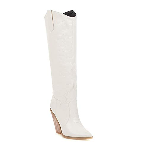 Women's Chunky High Heel Knee High Boots Western Cowboy Leather Cowgirl Combat Booties Pull On Work Shoes - Limsea White