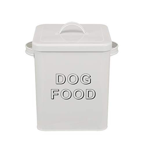 dog food storages Morezi Dog Treat and Food Storage Tin with Lid and Serving Scoop Included - Cream Powder - Coated Carbon Steel - Tight Fitting Lids - Storage Canister Tins - Dog Food