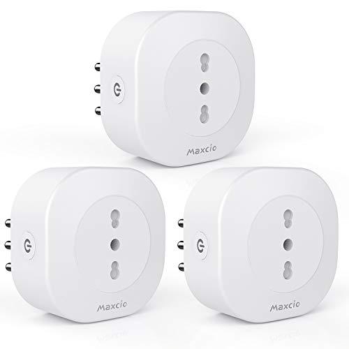 Maxcio Presa Intelligente WiFi Italiana 16A, Smart Plug Spina Energia Monitor 3520W, Compatibile Alexa Echo e Google Home, APP Controllo, Mini Presa WiFi Con Funzione Timer e Condiviosne (3 Packs)
