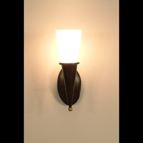 Los holandeses de pared 1-lámpara de techo, TORCIA cono, de hierro de colour marrón-oro - protector de pantalla de cristal de colour blanco opal