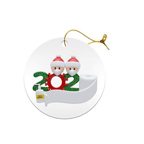 OLOPE Christmas Ornaments 2020 Quarantine Survivor Family Customized Christmas Decorating Kits Creative Gift for Family, Christmas Party Decoration 1-7 Family Members (1Pcs, Tag Family of 2)