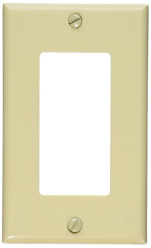 Leviton 80401-I 1-Gang Decora/GFCI Device Wallplate, Standard Size, Thermoset, Device Mount, Ivory