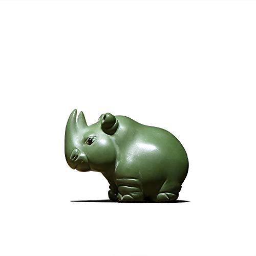 HKJCC Yixing purpurroter Sandgrünschlammstadthaus Rhinocerosteehaustier-Verzierungsboutique kann kleinen Teesatz-Kaffeetischdekorationsdekoration erwähnen