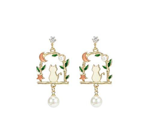 YTM Women's Drop Dangle Earring Girl Earrings Pearl Cat Earrings S925 Sterling Silver Earrings Sweet Temperament Earrings Ladies Trend Jewelry