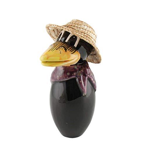 Tangoo Keramik Rabe Mini mit Hut, lila Halstuch mit Sprenkeln