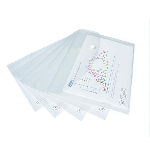 Rapesco - Carpetas de sobres para documentos - A5, transparente, 1 paquete: 5 carpetas