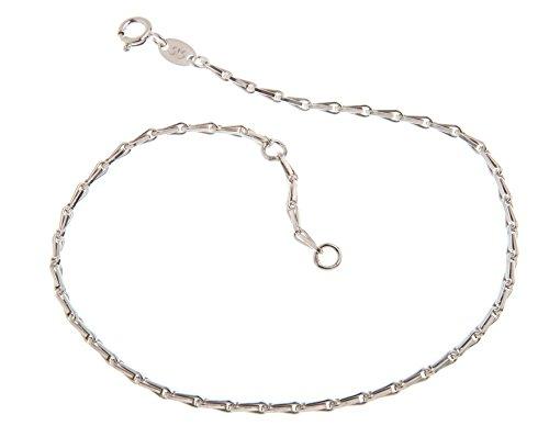 Silberketten-Store Piede catena (Haferkorn) - 2 mm larghezza - lunghezza a scelta 23-30 cm - 925 argento viennagold, Argento, cod. 1235