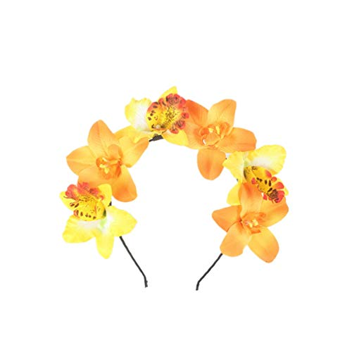 YAZILIND orquídea flor corona diadema boda trajes de novia cabezas de vestir...
