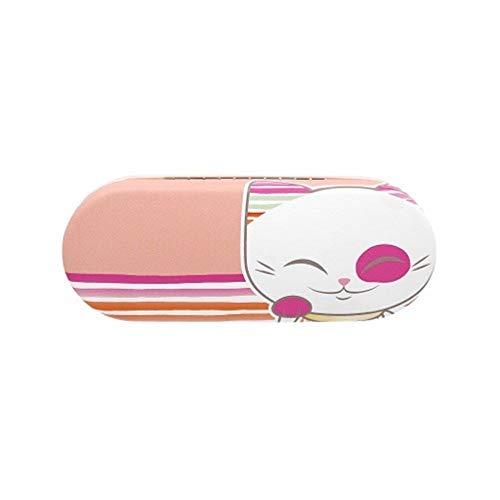 Mani the Lucky Cat - Funda rígida para gafas, diseño de gato, color rosa y naranja