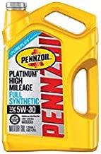 Pennzoil Platinum High Mileage Full Synthetic 5W-30 Motor Oil for Vehicles Over 75K Miles (5-Quart, Single-Pack)